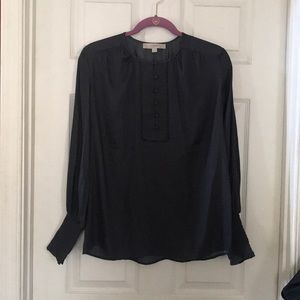 NWOT LOFT dark grey long sleeve cuff blouse XS